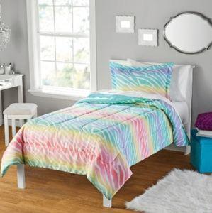 Rainbow pastel Zebra print bedding
